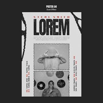Muziekalbum poster sjabloon met foto- en stofeffect