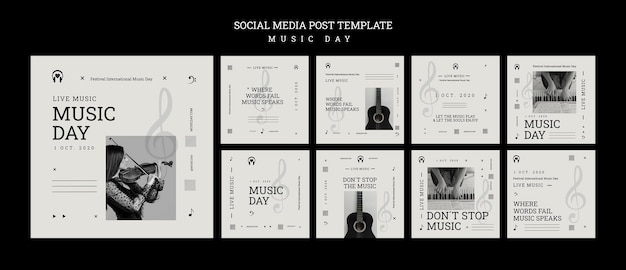 Muziekdag sociale media postsjabloon