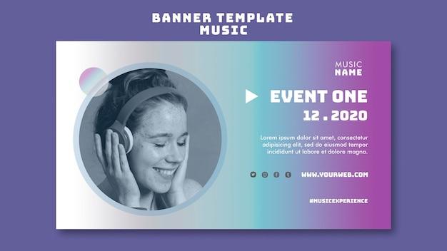 Muziekervaring horizontale banner sjabloon
