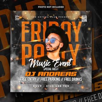 Muziekevenement feest flyer social media post en webbanner