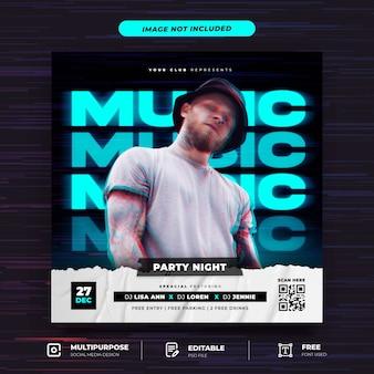 Muziekfeest social media post-sjabloon met dubbel belichtingseffect