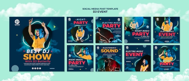 Muziekfeest social media postsjabloon