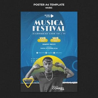 Muziekfestival afdruksjabloon