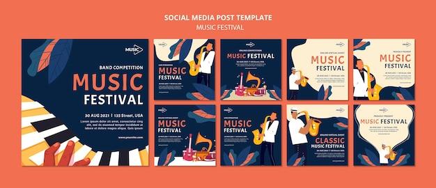 Muziekfestival social media postsjabloon