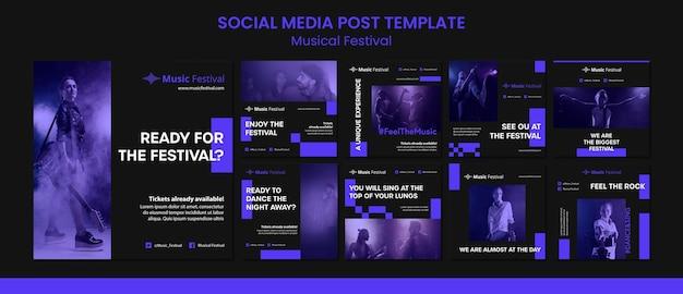 Muziekfestival sociale meida postsjabloon