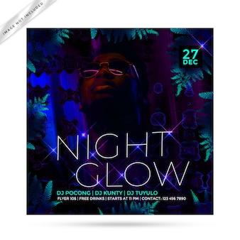 Nacht glow flyer feest