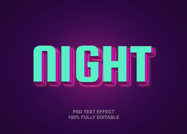 Nacht stijl teksteffect sjabloon