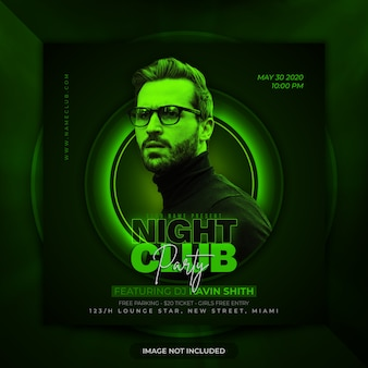 Nachtclubfeest flyer premium sociale media postbanner