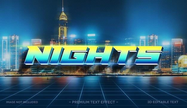 Nachten 3d-teksteffect mockup-sjabloon
