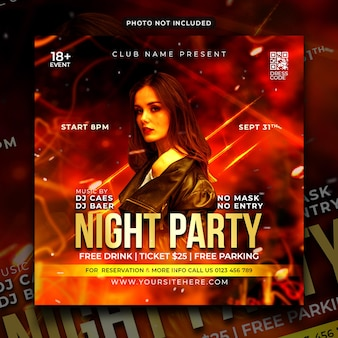 Nachtfeest flyer social media post en webbanner
