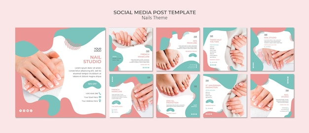 Nagelstudio social media postsjabloon
