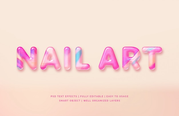Nail art 3d tekststijl