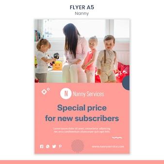 Nanny services flyer-sjabloon