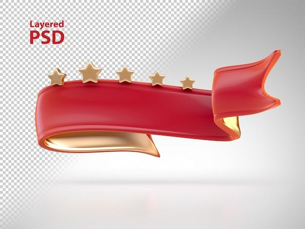 Nastro rosso 3d con stelle dorate