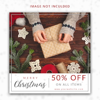 Natale 50% di sconto sul modello di post di instagram