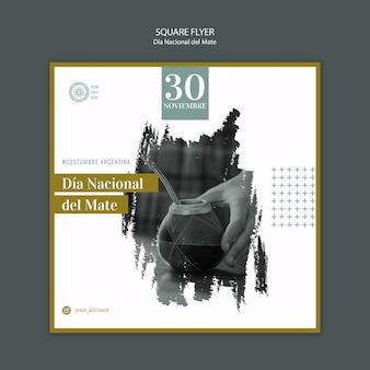 Nationale dag van het drinken van mate vierkante flyer