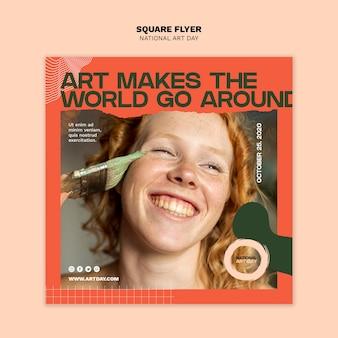 Nationale kunstdag vierkante flyer sjabloon met foto