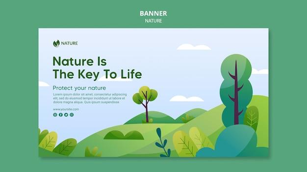 La naturaleza es la clave de la plantilla de banner de vida