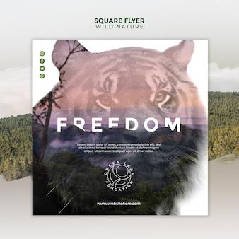 Naturaleza salvaje hermoso retrato de flyer cuadrado de tigre