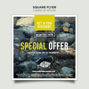 Natuur concept vierkante flyer-sjabloon