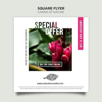 Natuur concept vierkante flyer-sjabloon Gratis Psd