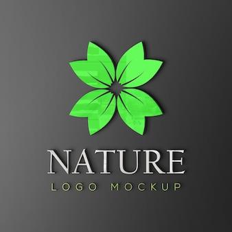 Natuur logo mockup met glanzend effect
