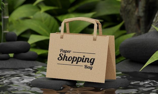 Natuurconcept papieren boodschappentas mockup Premium Psd