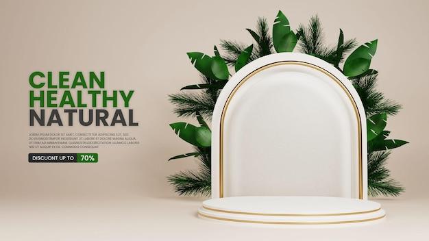 Natuurlijk elegant luxe podium met tropische plant