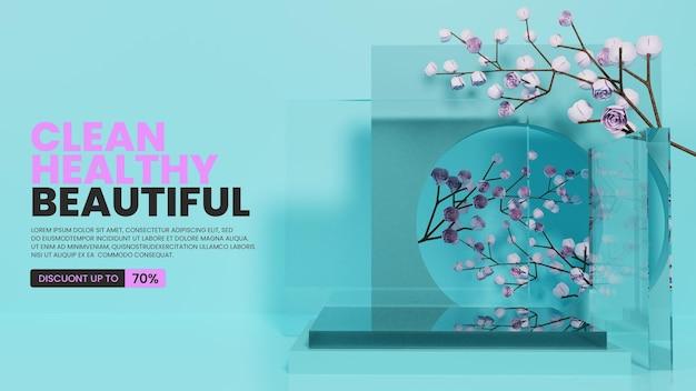 Natuurlijk glas podium met rozen