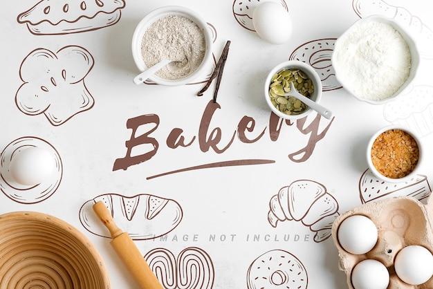 Natuurlijke biologische ingrediënten voor bakken met mockup-kopie ruimte