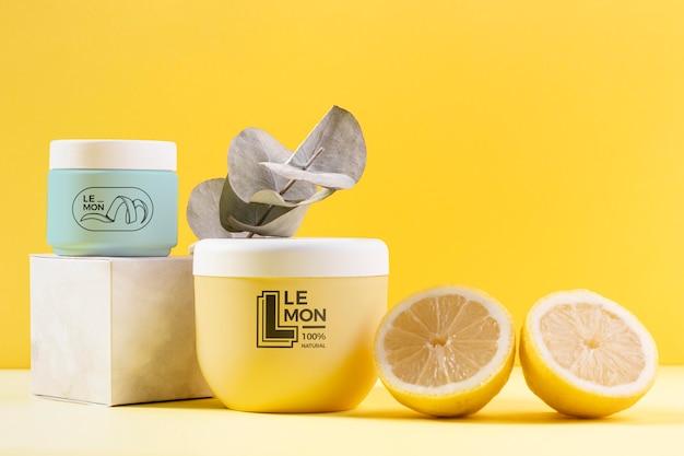 Natuurlijke citroensap cosmetica arrangement