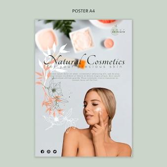 Natuurlijke cosmetica poster sjabloon