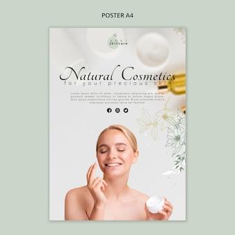 Natuurlijke cosmetica sjabloon poster