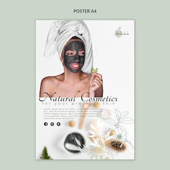 Natuurlijke cosmetica winkel poster sjabloon