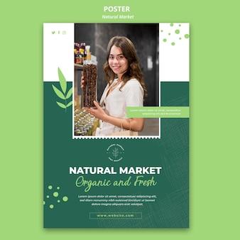 Natuurlijke markt concept poster sjabloon
