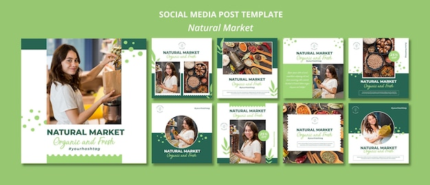 Natuurlijke marktconcept sociale media post-sjabloon
