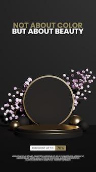 Natuurlijke minimalistische luxe podium productdisplay met rozen
