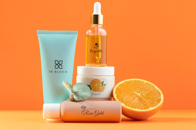 Natuurlijke sinaasappelsap cosmetica assortiment