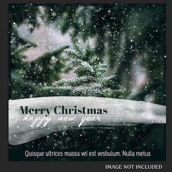 Navidad y feliz año nuevo 2019 photo mockup y instagram post plantilla