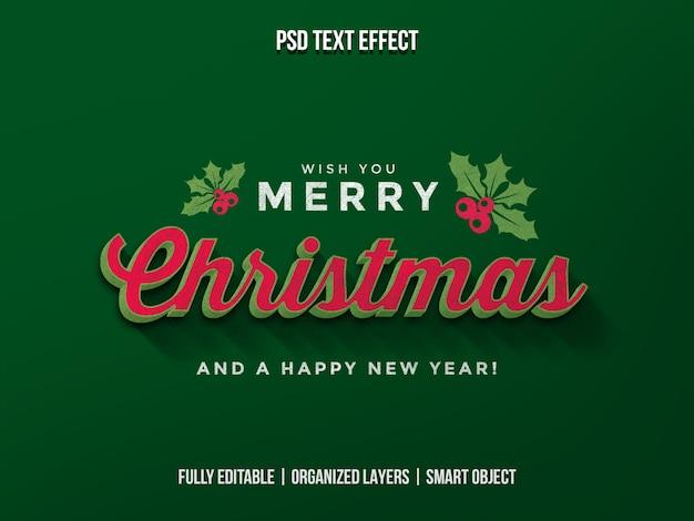 Navidad y feliz año nuevo efecto de texto