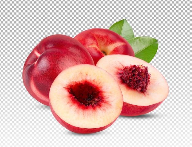 Nectarine fruit met blad geïsoleerd