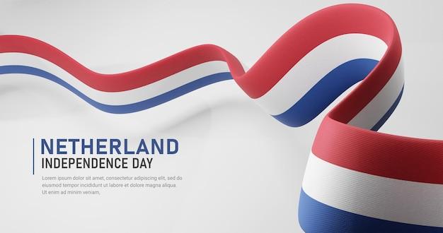 Nederland onafhankelijkheidsdag zwaaien lint vlag banner sjabloon