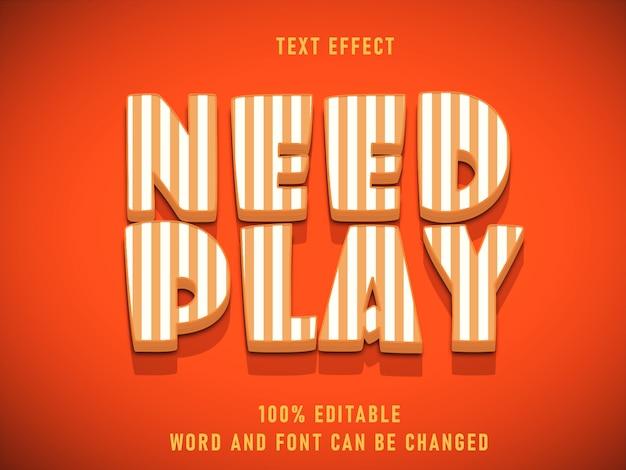 Need play estilo de texto a rayas efecto de texto color de fuente editable estilo sólido vintage