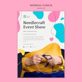 Needlecraft poster sjabloon concept