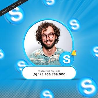 Neem contact met mij op via skype sociale media onderste derde 3d-ontwerp render banner icon profile