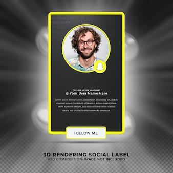 Neem contact met mij op via snapcha sociale media onderste derde 3d-ontwerp render banner icon profile