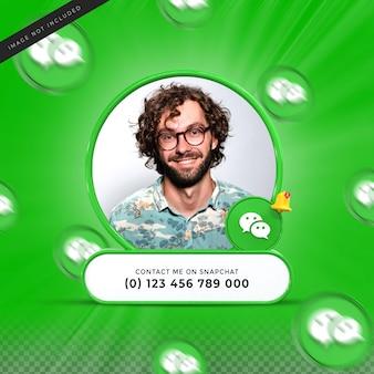 Neem contact met mij op via wechat sociale media onderste derde 3d-ontwerp render banner icon profile