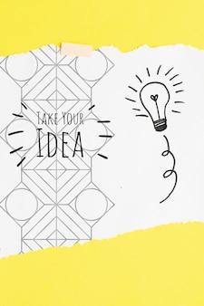 Neem uw idee citaat met gloeilamp schetsen en doodles