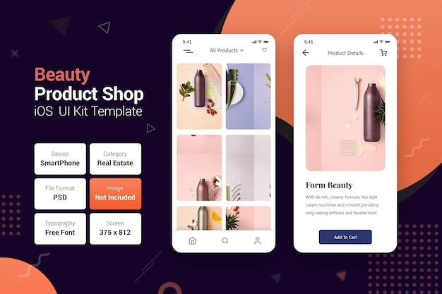 Negozio di prodotti per la bellezza app online per dispositivi mobili