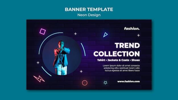 Neon bannersjabloon voor kledingwinkelverkoop clothing